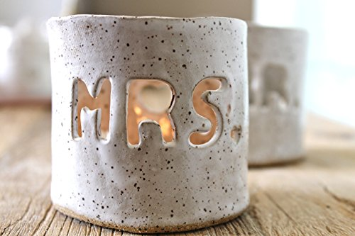 Mr. and Mrs. Handmade Ceramic Candle Holder- Personalized Candle Holder - Customized Candle - Painted Personalized Pottery