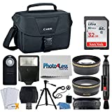 Canon EOS Bag 100ES + 32GB Memory Card + 58mm Telephoto & Wide Angle Lens + Flash + Remote + Tripod + Card Reader – Top Accessory Bundle for Canon T6, T6i, T7i, 80D, 77D, SL2 with 18-55mm STM Lens For Sale