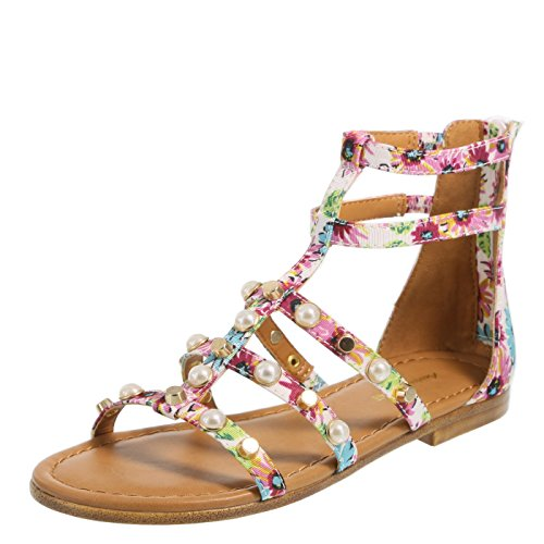 Brash Pink Floral Girls' Electra Pearle Gladiator Sandal 2 Regular ()