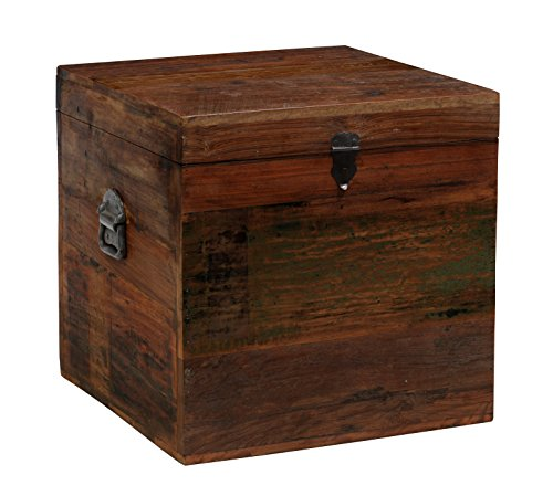 Benjara Square Shaped Wooden Trunk with Lift Top Storage and Iron Side Handles, Brown and Black