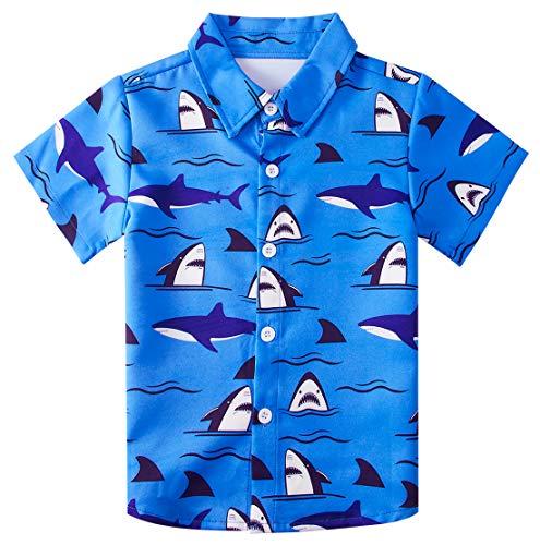 Big Boys 3D Shark Pattern Shirt Awesome Cute Designer Hawaiian Attire Juniors Bright Blue Sea Painting Shirts Size 7/8 Yrs Beach Aloha Party Camp Short Sleeve Luau Dresses 7-8T