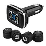 Wireless DIY Tire Pressure Monitoring System with 4 External Sensors, Cigarette Lighter Plug LCD Display with Tire Pressure, Temperature Gauge and Battery Voltage