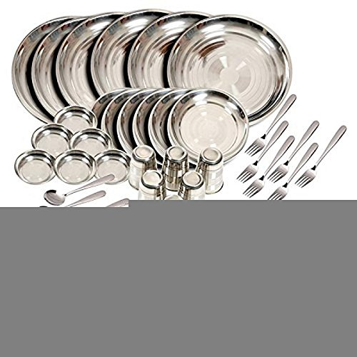 PARIJAT HANDICRAFT BPA Free Stainless steel Dinner Set Of 50 Pieces Glass, Curry Bowl, Desert bowl, Spoon, Quater Plate and Full Plate