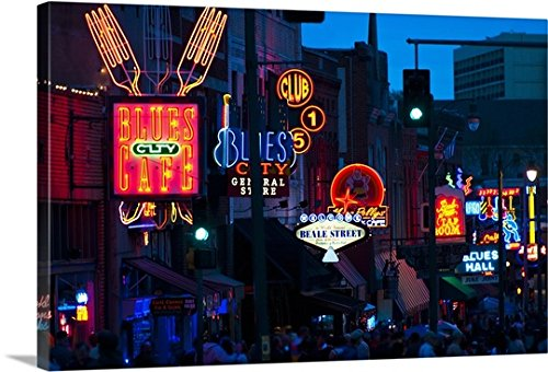 Canvas On Demand Premium Thick-Wrap Canvas Wall Art Print entitled Illuminated signs on Beale Street in Memphis, Tennessee