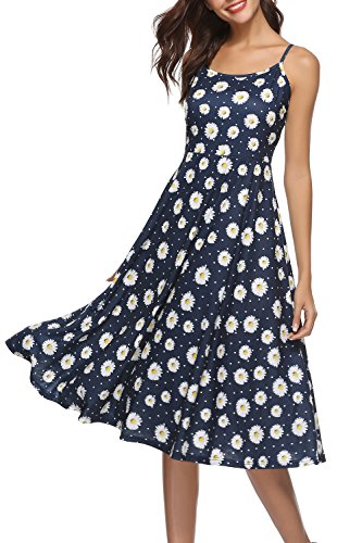 Viracy Sundresses for Women, Ladies Casual Summer Beach Knee Length Bohemian Dresses Strappy A Line Floral Print Loose Fitted Swing Flared Cami Dress Blue Flower M