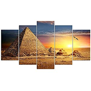 Wowdecor Canvas Wall Art Canvas Prints Painting 5 Panels Pieces Multiple Pictures, Pyramid Egypt Sunset Desert Giclee…