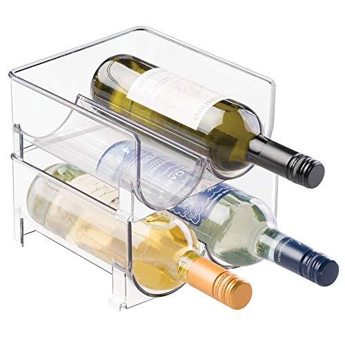 mDesign Stackable Wine Bottle Storage Rack for Kitchen Cabinet, Countertops - Holds 4 Bottles, Clear