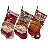 "Christmas Stockings DMcore 3Pcs 18"" 3D Plush Cute Santa Snowman Socks Decoration with Hang Loops (3pcs, Color-4)"
