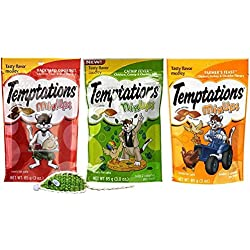 Temptations Low Calorie Mix-Ups Cat Treats 3 Flavor Variety with Toy Bundle, 1 each: Backyard Cookout, Catnip Fever and Farmer's Feast, 3 Ounces ea.