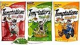 Temptations Low Calorie Mix-Ups Cat Treats 3 Flavor Variety with Toy Bundle, 1 each: Backyard Cookout, Catnip Fever and Farmer's Feast, 3 Ounces ea.