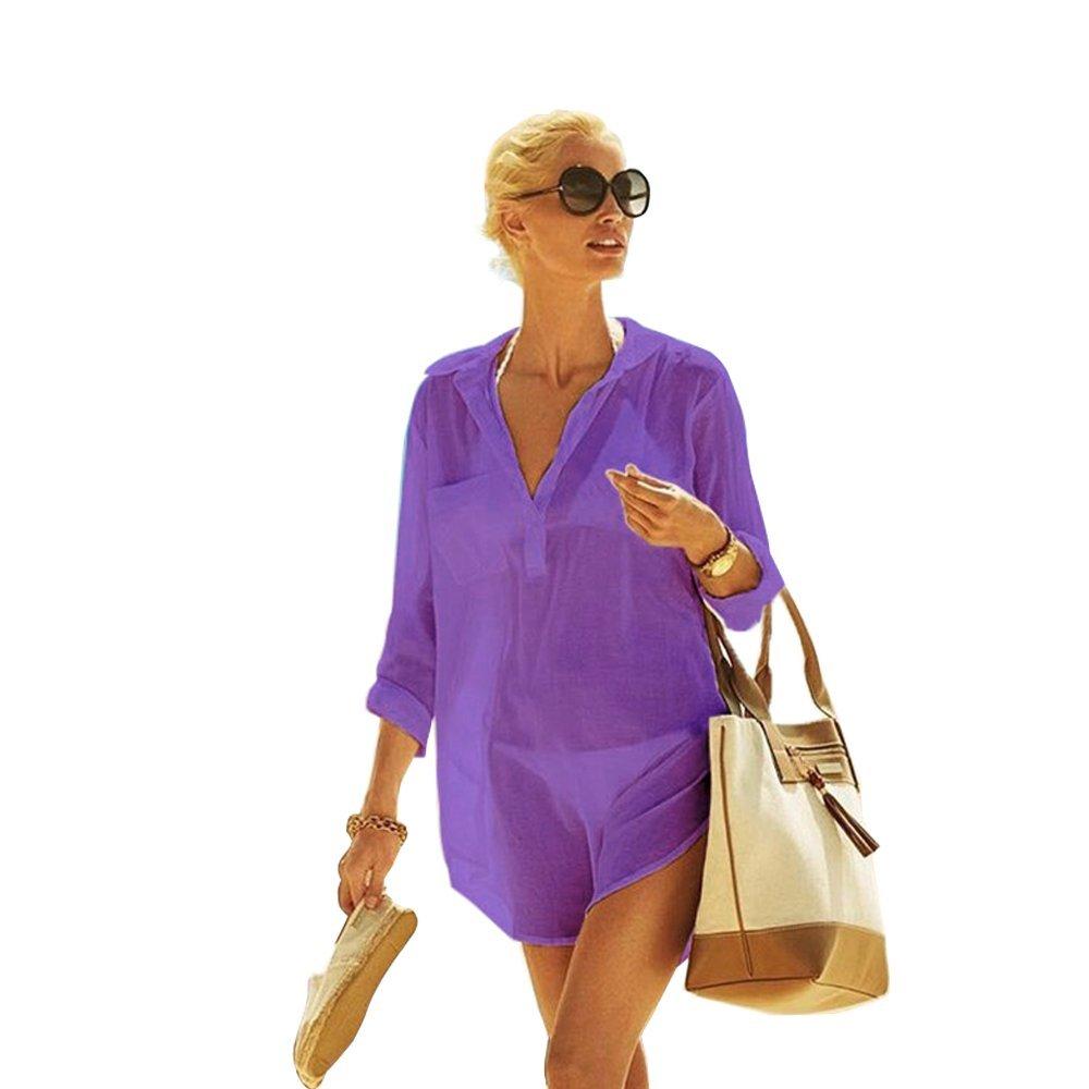 0f4a0cfbd3c996 Damen Strandkleid aus Baumwolle mit reizvollem V-Ausschnitt und sexy  Häkellook über den Bikini oder ...