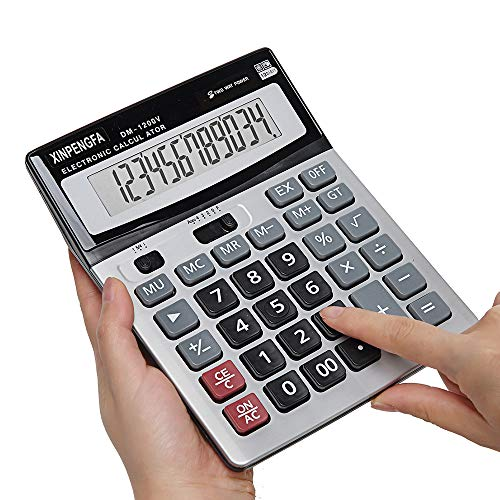 (XINPENGFA Office Calculator,12-Digit Battery Dual Powered Handheld Electronic Business Mini Solar Basic Calculator, Desktop Financial Scientific Simple Desk Calculators with Large LCD Display)