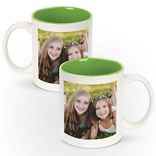 - Personalized 11oz White Ceramic Mugs With Colored Interior - Add Photo, Logo, or Image to This Custom Coffee Mug. BPA-free, Microwaveable & Top Shelf Dishwasher Safe.