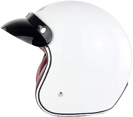 Amazon.es: Harley retro Medio casco Jet Casco D.O.T Certificado vespa de la moto Casco Casco de piloto de 3/4 cara abierta Vespa Protector de cabeza unisex verano lxhff (Color : -L)