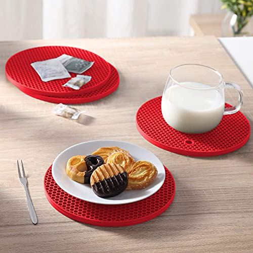 SAPPHIRE INDIA Heat Resistant Mats for Dining Table – Kitchen Accessories Items – Heat and Anti Slip Pad for Dining Table – Honeycomb Design Silicone Coaster, 2Pcs