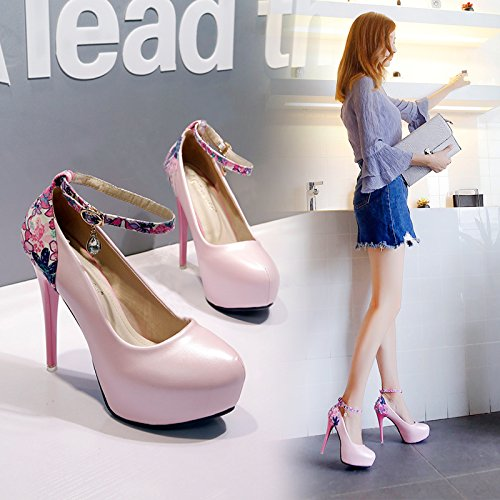 12Cm Round Sexy GTVERNH High Pink Night And Ladies Super Shop Woman Single Spring Heel Summer Heel Women'S Waterproof Platform Shoes Heel Summer Fine Princess Shoe Head Fashion 7r7wq0xT