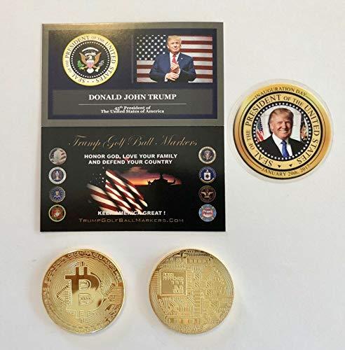 Virginia City Mint Trump Golf Ball Marker. Bit Coin 24K Gold Plated Coin