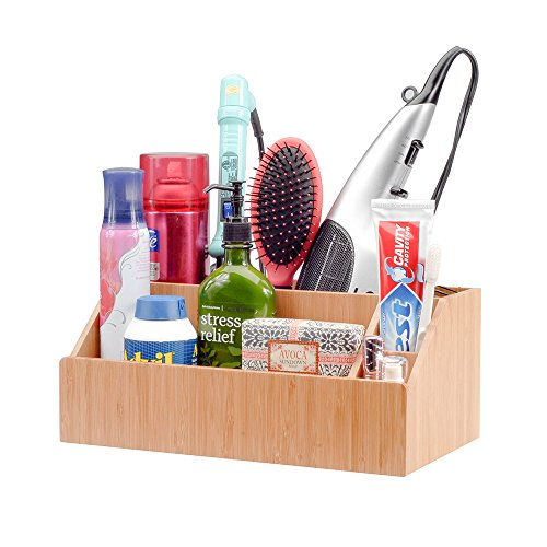 MobileVision Bamboo Bathroom Tray Caddy Organizer for Beauty Products, Hair Care, Make Up, and More