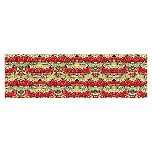 Leigh R. Avans Background Fish Tank Sticker Asian Batik Blooms Motif in Colors Ornate Nature Inspired Floral PVC Aquarium Decorative Paper 29.5