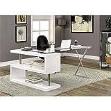 Furniture of America Fiora Modern Swivel Computer Desk in White For Sale