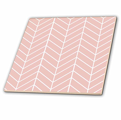 3dRose ct_179816_1 Coral Pink Herringbone Pattern Modern Arrow Feather Inspired Design Ceramic Tile, 4