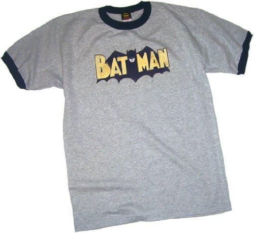 Batman Classic Bat-Cape Logo Adult Ringer T-Shirt, Large ()