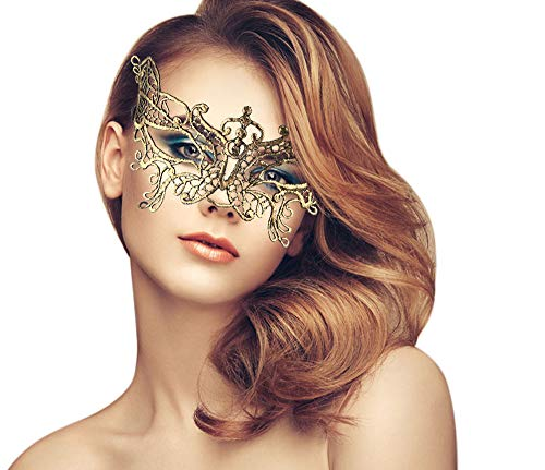 duoduodesign Exquisite Lace Masquerade Mask (Gold/Butterfly/Soft