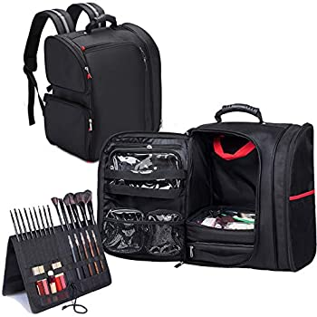Image of KIOTA Professional Makeup Artist Backpack with Clear Cosmetic Storage Bags, Thermal Lining Pocket, Black (Black)