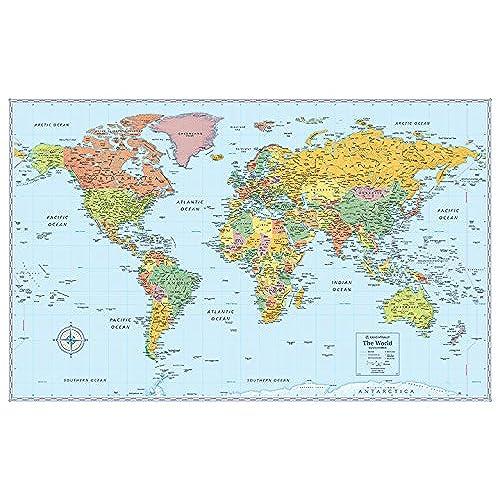 World map amazon rand mcnally signature world wall map laminated gumiabroncs Image collections
