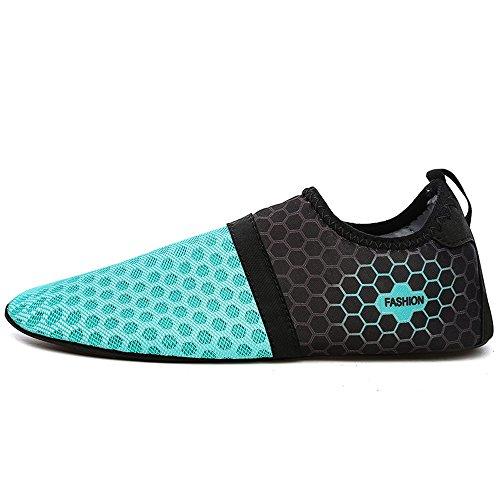 YIRUIYA Frauen Männer Quick-Dry Barfuß Wasser Schuhe Haut Aqua Socken Mit Entwässerung Löcher ¡ Blau-neu