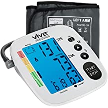 Blood Pressure Monitor by Vive Precision - Automatic Digital Upper Arm Cuff - Accurate, Portable BPM, Perfect for Home Use - Electronic BP Meter Measures Pulse Rate - 1 Size Fits Most Cuff, Silver