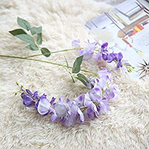 NszzJixo9 Artificial Silk Wisteria Fake Garden Hanging Flower Plant Vine Wedding Decor, Flowers Fake for Wedding Ceremony Arch Party Home Garden Deco (Purple) 2
