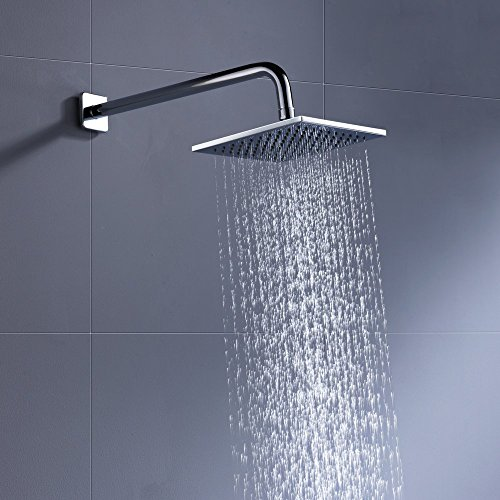 100% METAL Rain Shower Head Square 8 Inch Rainfall Showerhead with 2.5 GPM High Pressure Water Flow | Large Luxury Rainshower for Ultimate Wall Mount, Overhead, or Ceiling Mounted Waterfall | Chrome