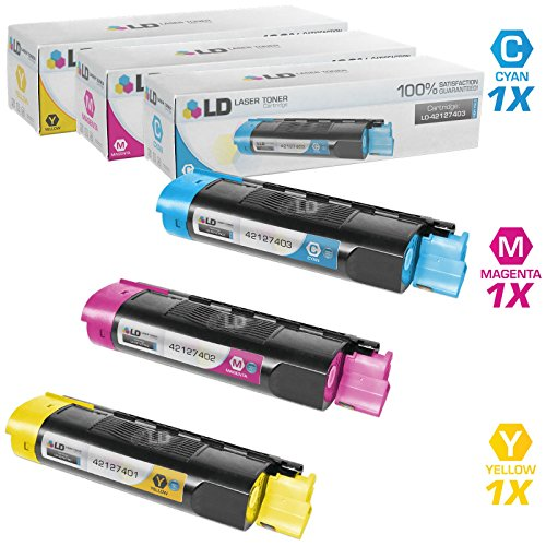 LD Compatible Replacements for Okidata 421274 Set of 3 High Yield Laser Toner Cartridges Includes: 1 42127403 Cyan, 1 42127402 Magenta, and 1 42127401 (42127403 Laser)