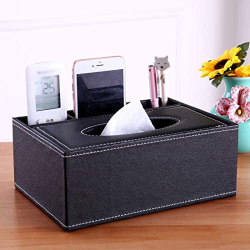 Souliyan Tray Paper Multi-Function Storage Box Small Pen Finishing Box Coffee Table Desktop Long Remote Control Storage Box (Color : Black Sheepskin Pattern) ()