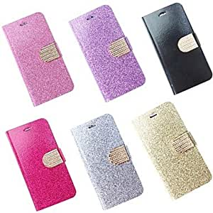 Color Glitter PU Leather Cover with Card Slot for iPhone 6 Plus (Assorted Colors) , Blue