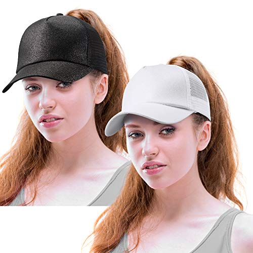 Norme 2 Pieces Ponytail Baseball Cap Hat Sequins Shiny Messy Bun Adjustable Mesh Trucker Hats (Black, White)