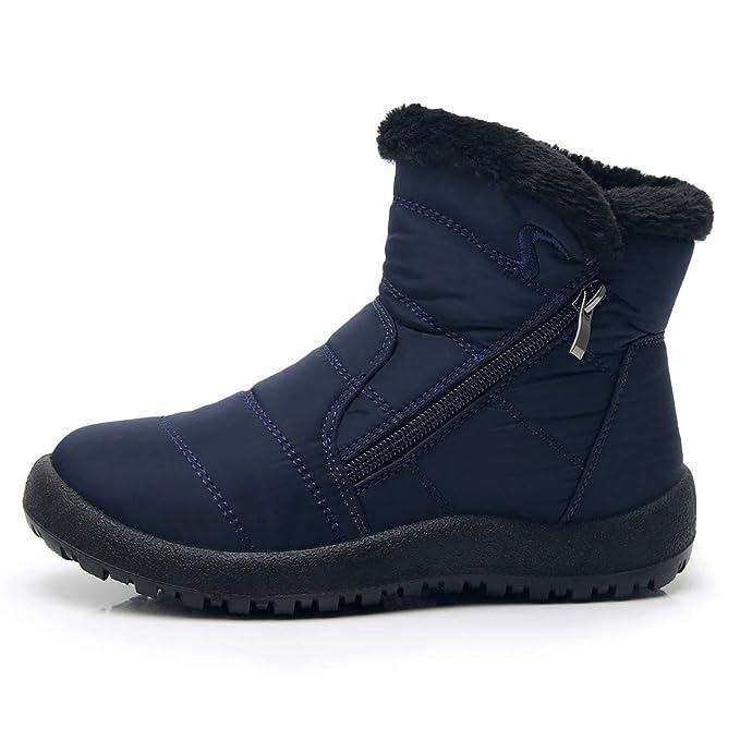 Mujeres Botines de Nieve Botas Cortas Cómodo Zapatos Planos ...