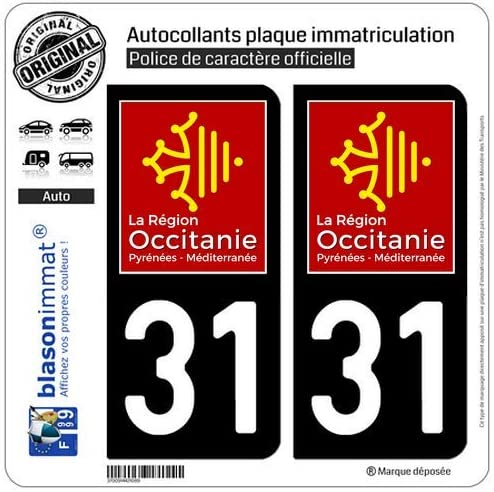 Logotype blasonimmat 2 Autocollants Plaque immatriculation Auto 12 Occitanie