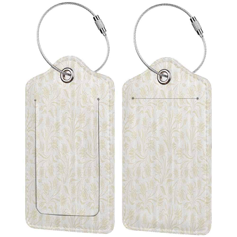 Flexible luggage tag Ivory Baroque Elegance Curved Leaves Floral Blooms Artistic Nature Beauty Kitsch Elegance Motif Fashion match Cream W2.7 x L4.6