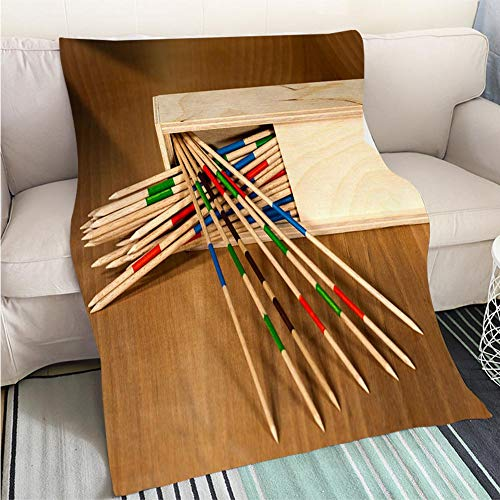 BEICICI Weave Pattern Printed Multicolor Custom Design Mikado Wooden Sticks and Box Sofa Bed or Bed 3D Printing Cool Quilt ()
