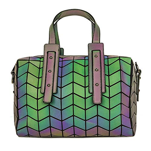Women Geometric Holographic Purses Luminous Handbags Large Tote Top-Handle Bags with Zipper Closure Satchel Boston Shoulder Bags Boston Tote Bag Purse