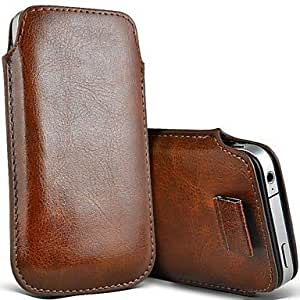 Barclay Domett (Envio Gratis) Gama Clasico Serie Slim Premium PU Soft Leather Pull Tab Pouch Case Cover la Tira para Extraer el Movil - Funda para Samsung Note 2 Marron Color