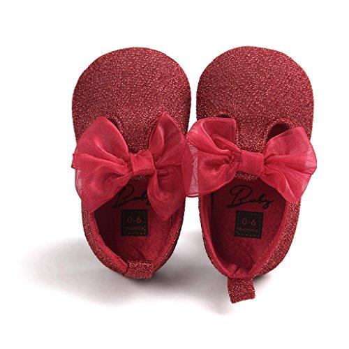 Top-Sell Los Niños Lindo Infantil Decoración Del Arco Del Bebé Zapatos Anti Deslizamiento Suavemente Único Prewalker Rojo