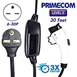 PRIMECOM Level-2 Electric Vehicle Charger 220 Volt 30', 35', 40', and 50' Feet Lengths (6-30P, 30 Feet)