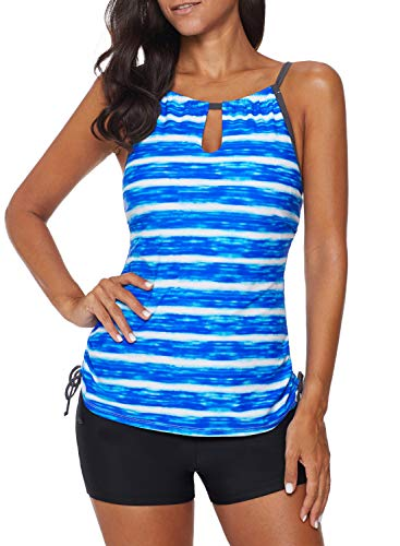 EVALESS Women's Strappy Stripes Hollow Out Tie Side Tankini with Shorts Tommy Control Beachweart Swimwear Large Blue