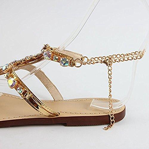 Sandali marrone Boemo Perline Sandali Anteriore Classici Infradito Tacchi con Zeppa Donna Tacco Plateau vxwqzYw7S