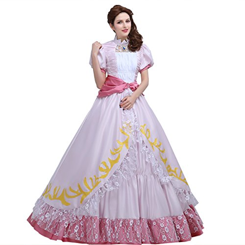 Angelaicos Women's Layered Pink Costume Party Long Dress Ball Gown (XL)