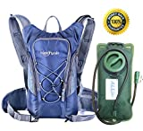 Hydration Pack with 2L Backpack hydration Bladder From HappySmile, Great Waterproof Cycling Hiking Climbing Hydration Backpack for Man Woman Kids (navy-blue)