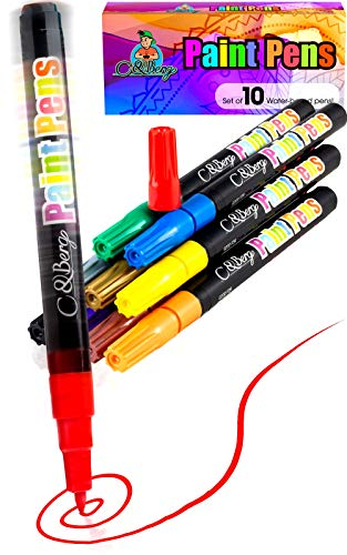 10 Paint Pens - Paint Marker Pens, Water Based Colors for Kids & Adults, Sun & Water Resistant Fine Point, Paint on Rock, Wood, Glass, Ceramic, Metal, Clothes, Skin & Almost All Surfaces Model 2019